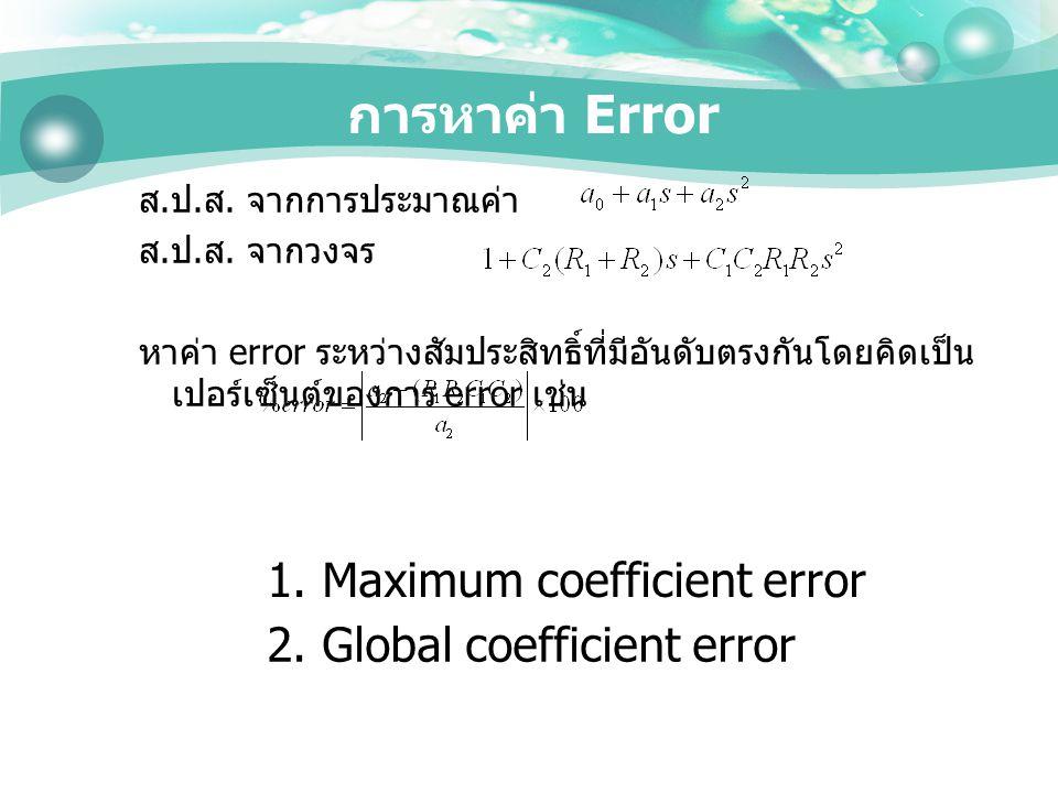 การหาค่า Error ส. ป. ส. จากการประมาณค่า ส. ป. ส. จากวงจร หาค่า error ระหว่างสัมประสิทธิ์ที่มีอันดับตรงกันโดยคิดเป็น เปอร์เซ็นต์ของการ error เช่น 1. Ma