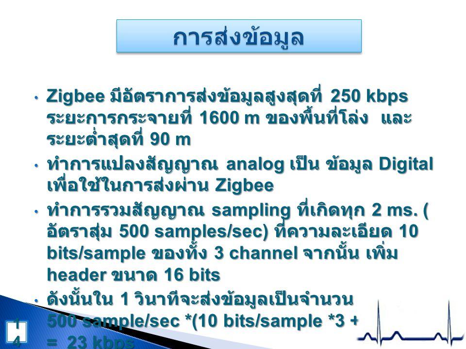 • Zigbee มีอัตราการส่งข้อมูลสูงสุดที่ 250 kbps ระยะการกระจายที่ 1600 m ของพื้นที่โล่ง และ ระยะต่ำสุดที่ 90 m • ทำการแปลงสัญญาณ analog เป็น ข้อมูล Digital เพื่อใช้ในการส่งผ่าน Zigbee • ทำการรวมสัญญาณ sampling ที่เกิดทุก 2 ms.