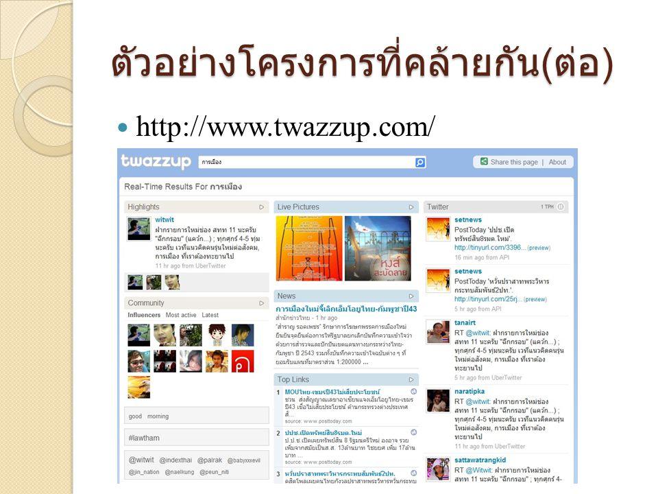 ตัวอย่างโครงการที่คล้ายกัน ( ต่อ )  http://www.twazzup.com/