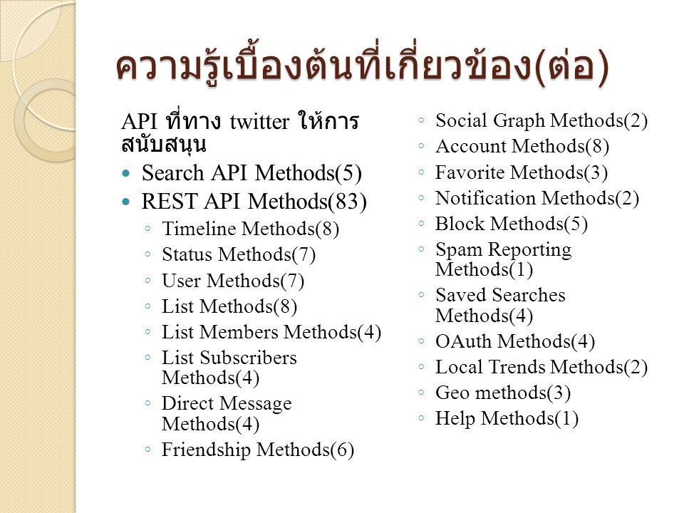 ความรู้เบื้องต้นที่เกี่ยวข้อง ( ต่อ ) API ที่ทาง twitter ให้การ สนับสนุน  Search API Methods(5)  REST API Methods(83) ◦ Timeline Methods(8) ◦ Status Methods(7) ◦ User Methods(7) ◦ List Methods(8) ◦ List Members Methods(4) ◦ List Subscribers Methods(4) ◦ Direct Message Methods(4) ◦ Friendship Methods(6) ◦ Social Graph Methods(2) ◦ Account Methods(8) ◦ Favorite Methods(3) ◦ Notification Methods(2) ◦ Block Methods(5) ◦ Spam Reporting Methods(1) ◦ Saved Searches Methods(4) ◦ OAuth Methods(4) ◦ Local Trends Methods(2) ◦ Geo methods(3) ◦ Help Methods(1)