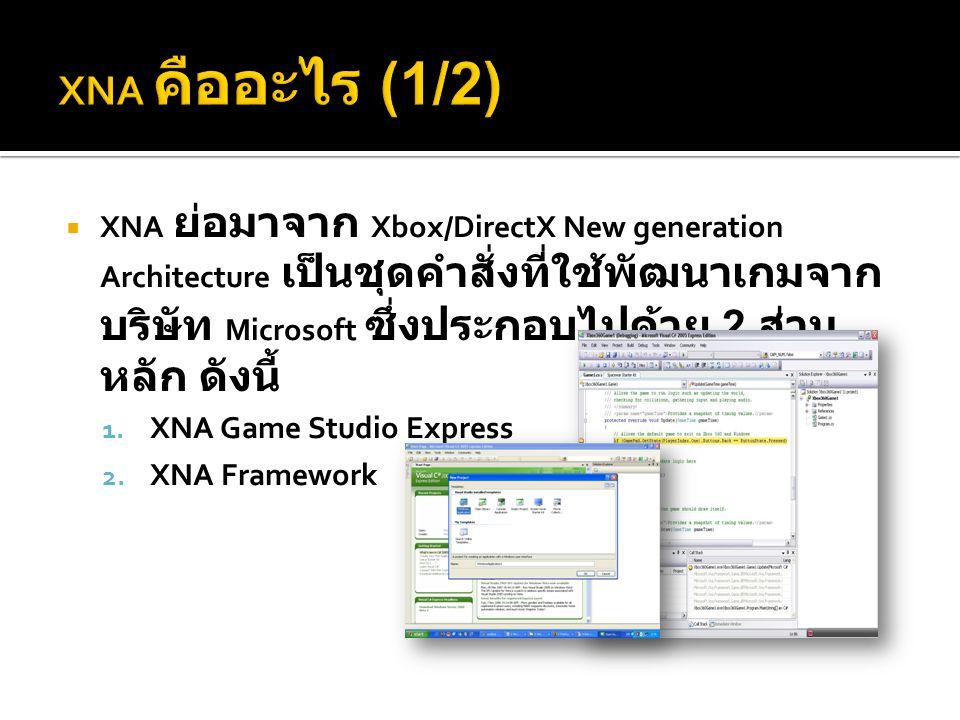  XNA ย่อมาจาก Xbox/DirectX New generation Architecture เป็นชุดคำสั่งที่ใช้พัฒนาเกมจาก บริษัท Microsoft ซึ่งประกอบไปด้วย 2 ส่วน หลัก ดังนี้ 1. XNA Gam