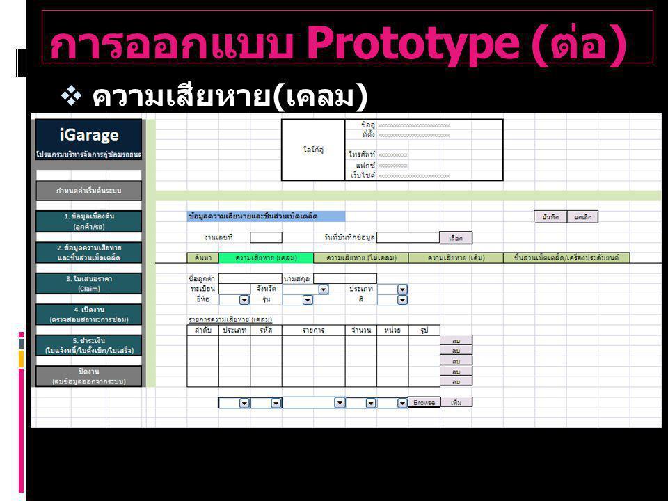 การออกแบบ Prototype ( ต่อ )  ความเสียหาย ( เคลม )