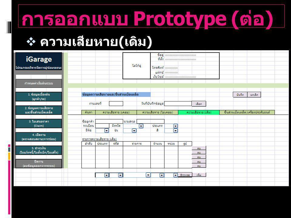 การออกแบบ Prototype ( ต่อ )  ความเสียหาย ( เดิม )