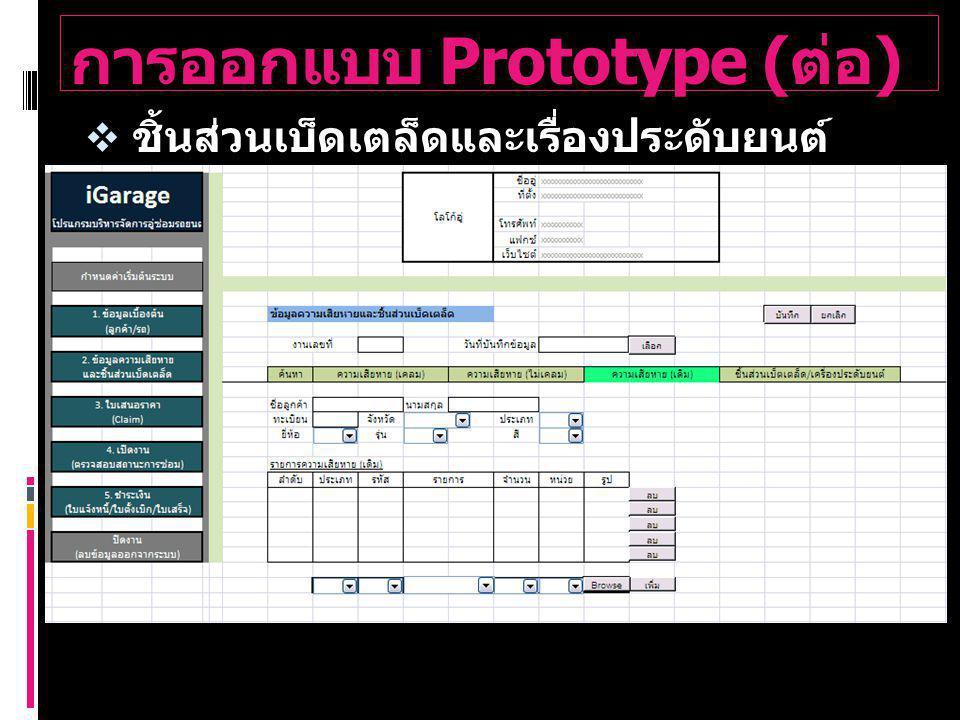 การออกแบบ Prototype ( ต่อ )  ชิ้นส่วนเบ็ดเตล็ดและเรื่องประดับยนต์