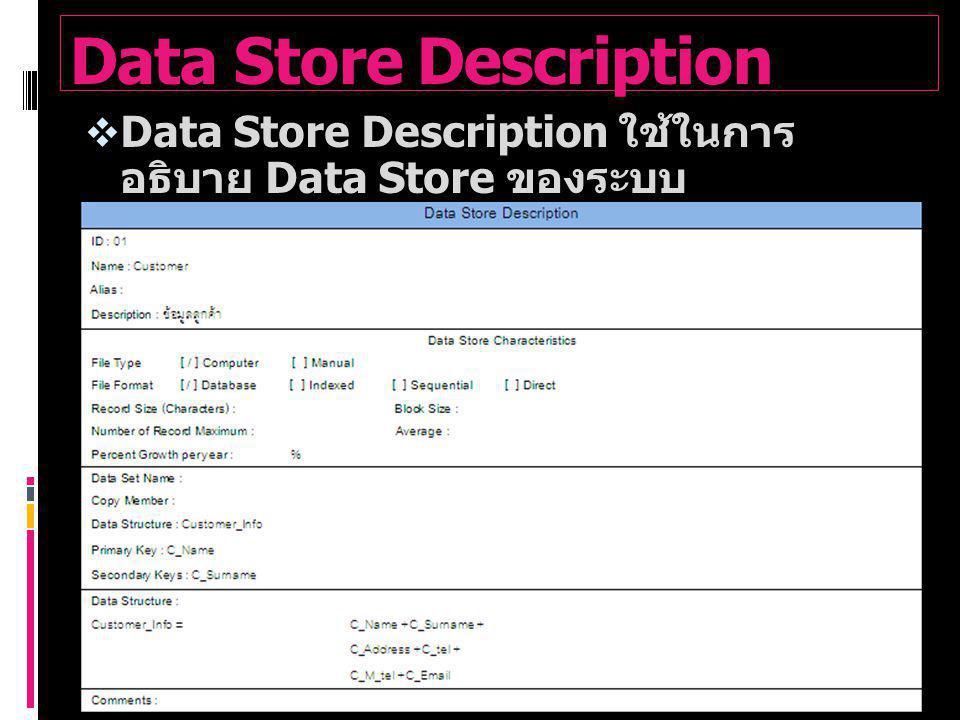Data Store Description  Data Store Description ใช้ในการ อธิบาย Data Store ของระบบ  ตัวอย่าง Data Store Description ของ ระบบ Customer Data Store