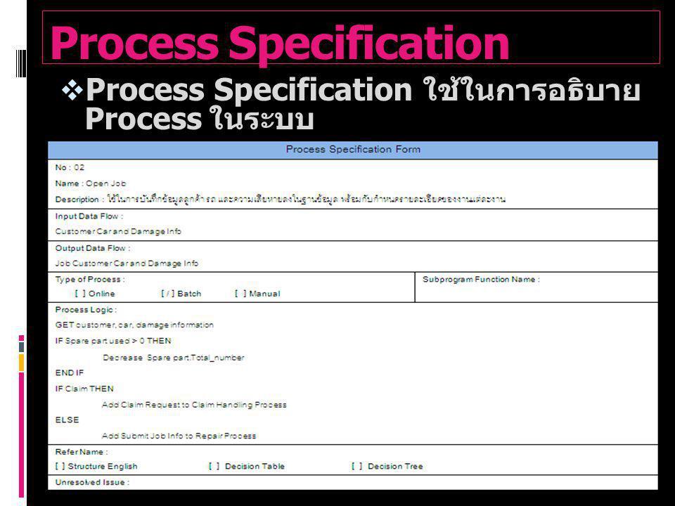 Process Specification  Process Specification ใช้ในการอธิบาย Process ในระบบ  ตัวอย่าง Process Specification ของ ระบบ Open Job Process
