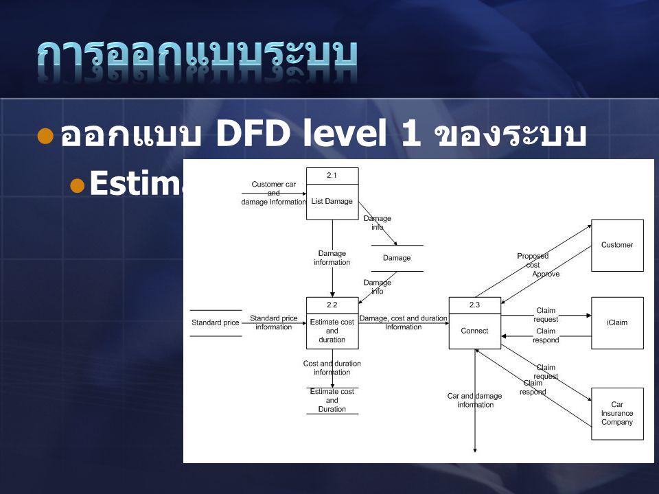  ออกแบบ DFD level 1 ของระบบ  Estimate