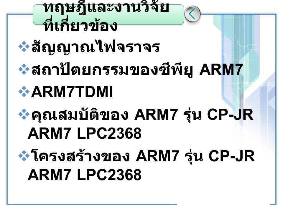 ทฤษฎีและงานวิจัย ที่เกี่ยวข้อง  สัญญาณไฟจราจร  สถาปัตยกรรมของซีพียู ARM7  ARM7TDMI  คุณสมบัติของ ARM7 รุ่น CP-JR ARM7 LPC2368  โครงสร้างของ ARM7