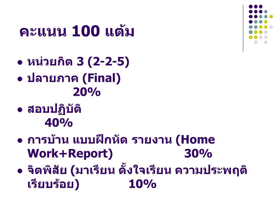 คะแนน 100 แต้ม  หน่วยกิต 3 (2-2-5)  ปลายภาค (Final) 20%  สอบปฏิบัติ 40%  การบ้าน แบบฝึกหัด รายงาน (Home Work+Report) 30%  จิตพิสัย ( มาเรียน ตั้ง
