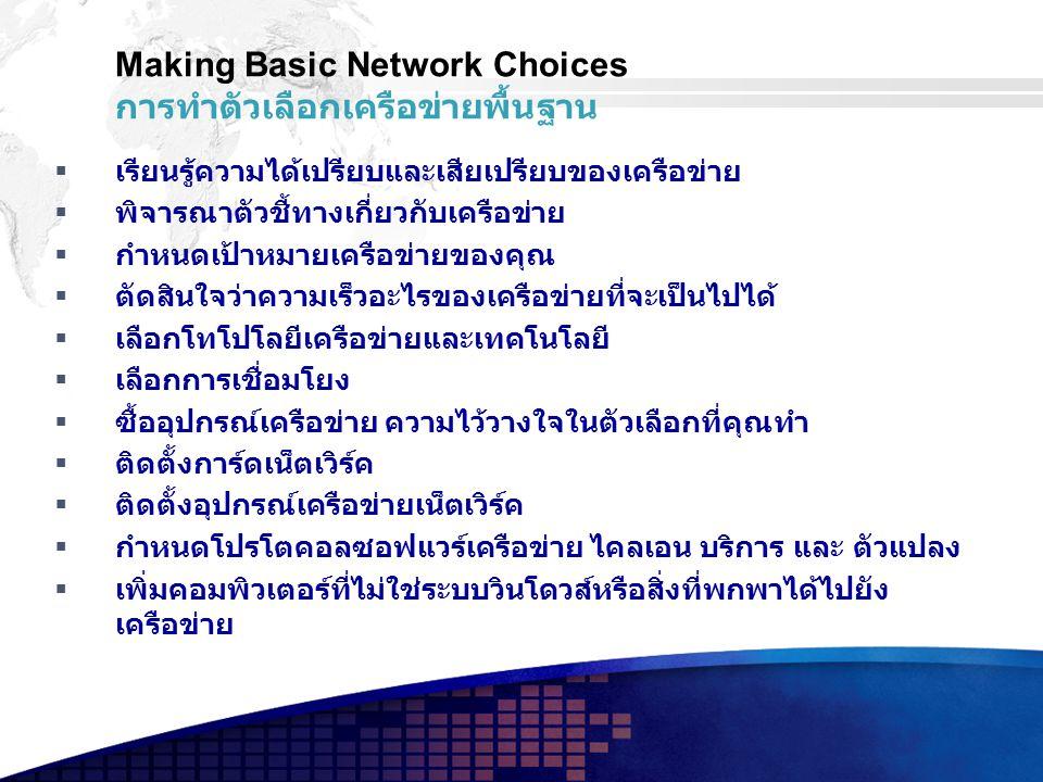 Making Basic Network Choices การทำตัวเลือกเครือข่ายพื้นฐาน  เรียนรู้ความได้เปรียบและเสียเปรียบของเครือข่าย  พิจารณาตัวชี้ทางเกี่ยวกับเครือข่าย  กำหนดเป้าหมายเครือข่ายของคุณ  ตัดสินใจว่าความเร็วอะไรของเครือข่ายที่จะเป็นไปได้  เลือกโทโปโลยีเครือข่ายและเทคโนโลยี  เลือกการเชื่อมโยง  ซื้ออุปกรณ์เครือข่าย ความไว้วางใจในตัวเลือกที่คุณทำ  ติดตั้งการ์ดเน็ตเวิร์ค  ติดตั้งอุปกรณ์เครือข่ายเน็ตเวิร์ค  กำหนดโปรโตคอลซอฟแวร์เครือข่าย ไคลเอน บริการ และ ตัวแปลง  เพิ่มคอมพิวเตอร์ที่ไม่ใช่ระบบวินโดวส์หรือสิ่งที่พกพาได้ไปยัง เครือข่าย