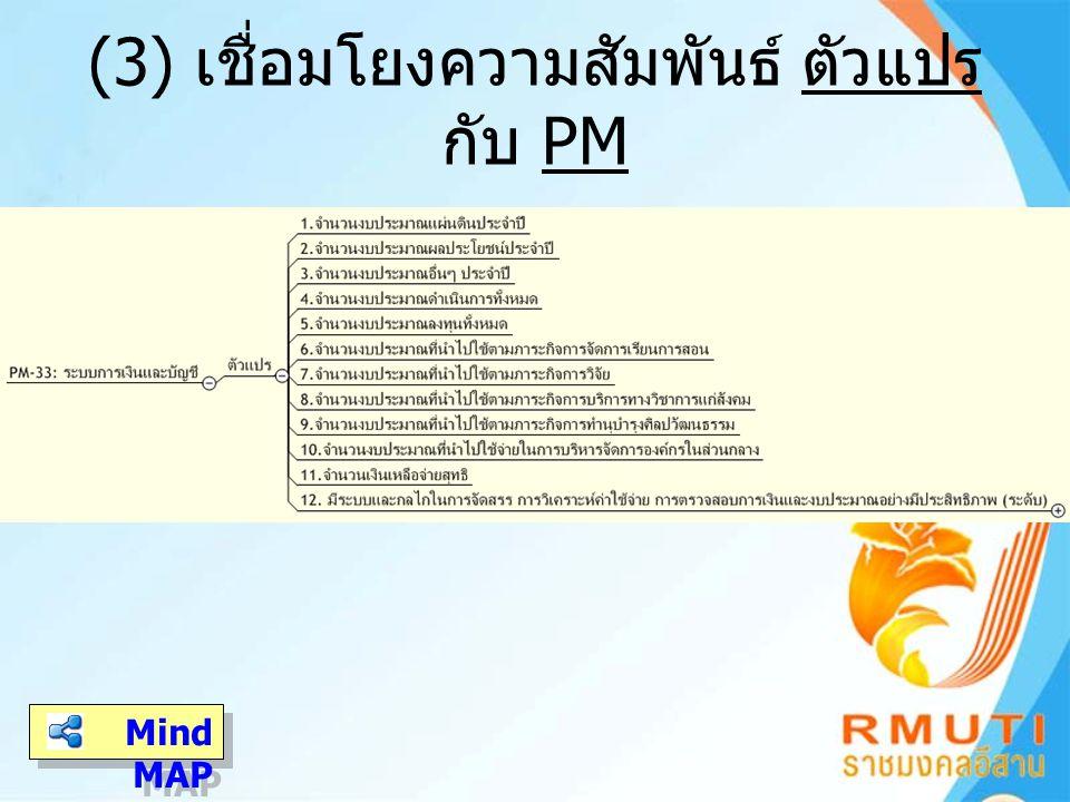 (3) เชื่อมโยงความสัมพันธ์ ตัวแปร กับ PM Mind MAP Mind MAP