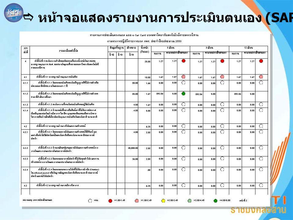  หน้าจอแสดงรายงานการประเมินตนเอง (SAR card)