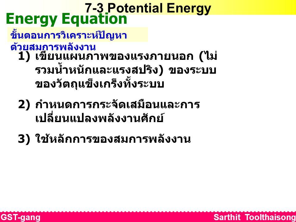 7-3 Potential Energy Energy Equation ขั้นตอนการวิเคราะห์ปัญหา ด้วยสมการพลังงาน 1) เขียนแผนภาพของแรงภายนอก ( ไม่ รวมน้ำหนักและแรงสปริง ) ของระบบ ของวัตถุแข็งเกร็งทั้งระบบ 2) กำหนดการกระจัดเสมือนและการ เปลี่ยนแปลงพลังงานศักย์ 3) ใช้หลักการของสมการพลังงาน GST-gang Sarthit Toolthaisong
