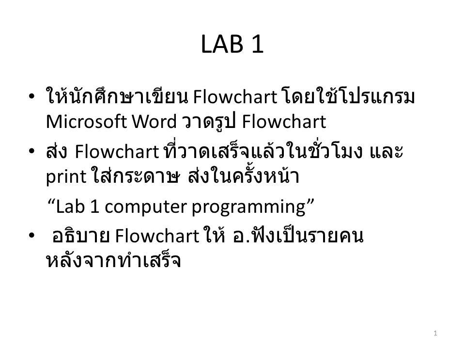 LAB 1 • ให้นักศึกษาเขียน Flowchart โดยใช้โปรแกรม Microsoft Word วาดรูป Flowchart • ส่ง Flowchart ที่วาดเสร็จแล้วในชั่วโมง และ print ใส่กระดาษ ส่งในครั้งหน้า Lab 1 computer programming • อธิบาย Flowchart ให้ อ.