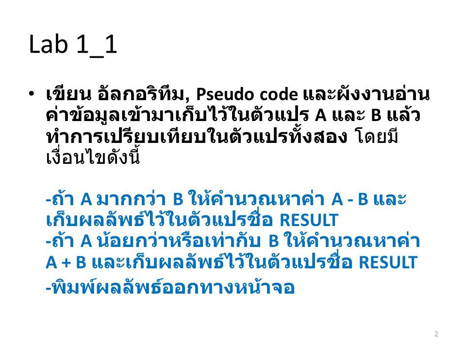 Lab 1_1 • เขียน อัลกอริทึม, Pseudo code และผังงานอ่าน ค่าข้อมูลเข้ามาเก็บไว้ในตัวแปร A และ B แล้ว ทำการเปรียบเทียบในตัวแปรทั้งสอง โดยมี เงื่อนไขดังนี้ - ถ้า A มากกว่า B ให้คำนวณหาค่า A - B และ เก็บผลลัพธ์ไว้ในตัวแปรชื่อ RESULT - ถ้า A น้อยกว่าหรือเท่ากับ B ให้คำนวณหาค่า A + B และเก็บผลลัพธ์ไว้ในตัวแปรชื่อ RESULT - พิมพ์ผลลัพธ์ออกทางหน้าจอ 2
