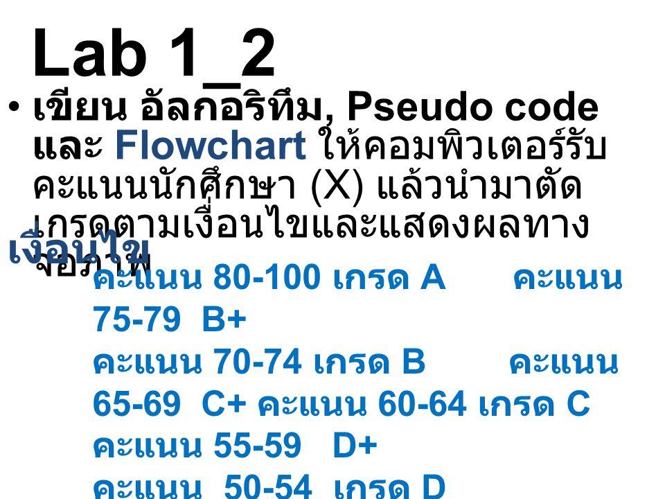 Lab 1_2 • เขียน อัลกอริทึม, Pseudo code และ Flowchart ให้คอมพิวเตอร์รับ คะแนนนักศึกษา (X) แล้วนำมาตัด เกรดตามเงื่อนไขและแสดงผลทาง จอภาพ เงื่อนไข คะแนน 80-100 เกรด A คะแนน 75-79 B+ คะแนน 70-74 เกรด B คะแนน 65-69 C+ คะแนน 60-64 เกรด C คะแนน 55-59 D+ คะแนน 50-54 เกรด D คะแนนต่ำกว่า 50 เกรด F