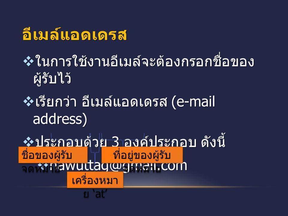 อีเมล์แอดเดรส  ในการใช้งานอีเมล์จะต้องกรอกชื่อของ ผู้รับไว้  เรียกว่า อีเมล์แอดเดรส (e-mail address)  ประกอบด้วย 3 องค์ประกอบ ดังนี้  nawuttag@gma