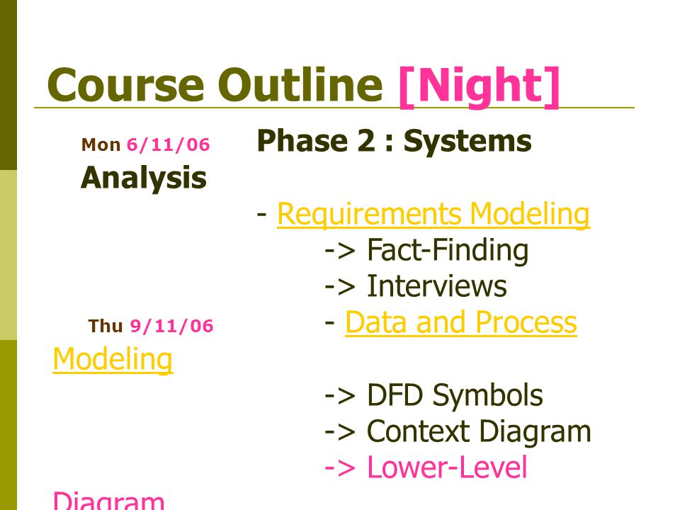 Course Outline [Night] Thu 16/11/06 - Process Description ToolsProcess Description Tools -> Structured English -> Decision Tables -> Decision Trees Mon 20/11/06 Transition to Systems DesignTransition to Systems Design -> Prototyping -> Overview of Systems Design Thu 23/11/06* Presentation I Wed 29/11/06** สอบกลางภาค