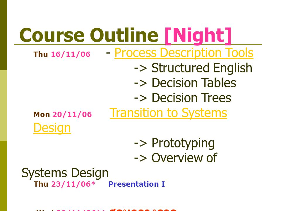 Course Outline [Night] Mon 4/12/06 Phase 3 : Systems Design - Data DesignData Design -> Data Design Concepts -> Data Design Terminology -> Data Relationships -> NormalizationNormalization Wed 6/12/06 - Output DesignOutput Design - User Interface DesignUser Interface Design - Input Design
