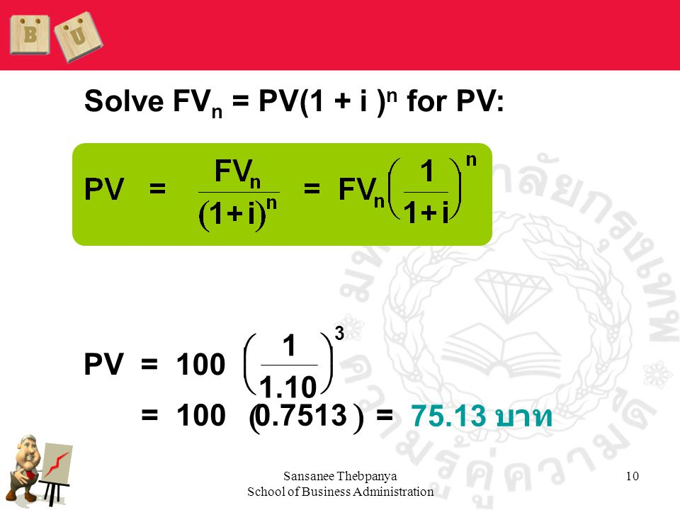 Sansanee Thebpanya School of Business Administration 10 Solve FV n = PV(1 + i ) n for PV:  PV= 100 1 1.10 = 1000.7513 = 75.13 บาท       3