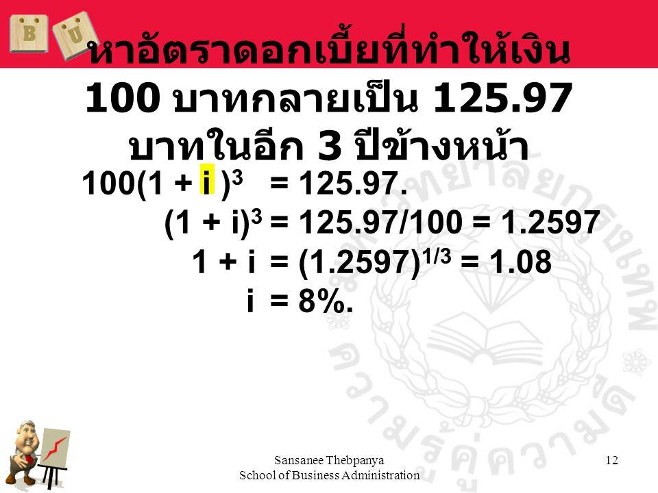 Sansanee Thebpanya School of Business Administration 12 หาอัตราดอกเบี้ยที่ทำให้เงิน 100 บาทกลายเป็น 125.97 บาทในอีก 3 ปีข้างหน้า 100(1 + i ) 3 = 125.9