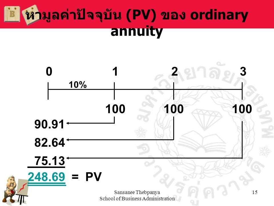 Sansanee Thebpanya School of Business Administration 15 หามูลค่าปัจจุบัน (PV) ของ ordinary annuity 100 0123 10% 90.91 82.64 75.13 248.69 = PV