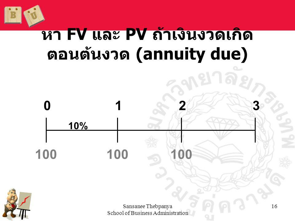 Sansanee Thebpanya School of Business Administration 16 หา FV และ PV ถ้าเงินงวดเกิด ตอนต้นงวด (annuity due) 100 0123 10% 100
