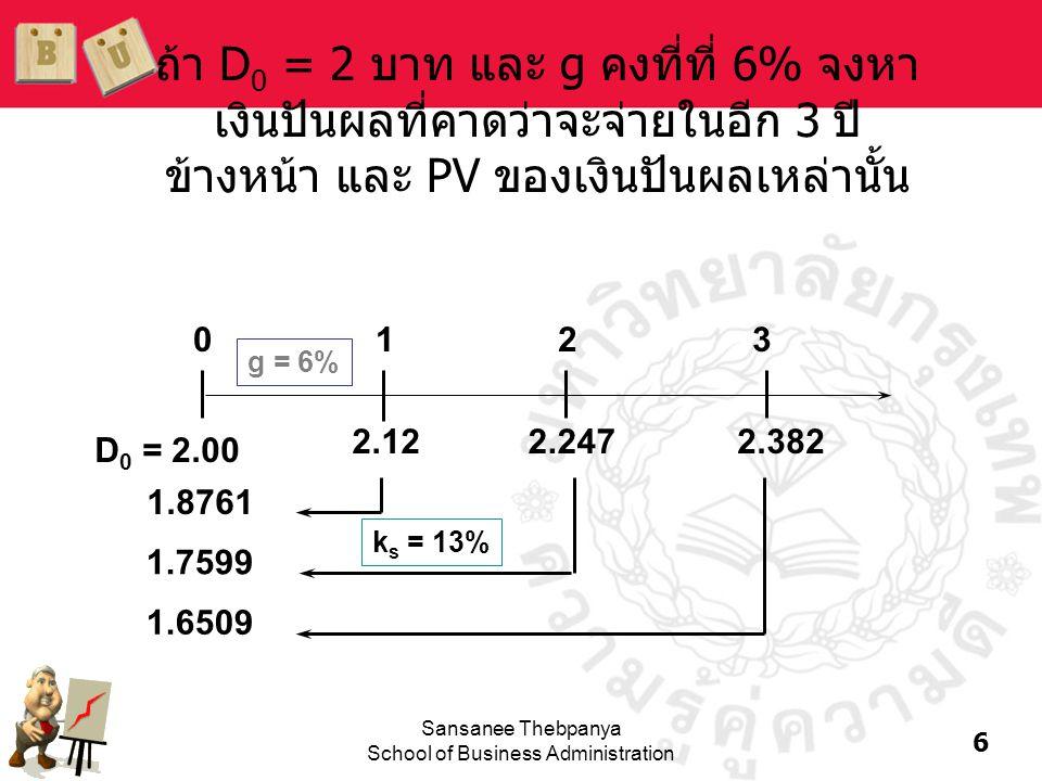 6 Sansanee Thebpanya School of Business Administration ถ้า D 0 = 2 บาท และ g คงที่ที่ 6% จงหา เงินปันผลที่คาดว่าจะจ่ายในอีก 3 ปี ข้างหน้า และ PV ของเง
