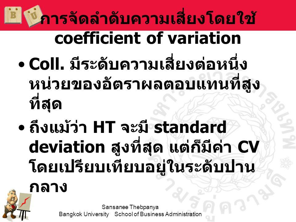 Sansanee Thebpanya Bangkok University School of Business Administration การจัดลำดับความเสี่ยงโดยใช้ coefficient of variation •Coll. มีระดับความเสี่ยงต