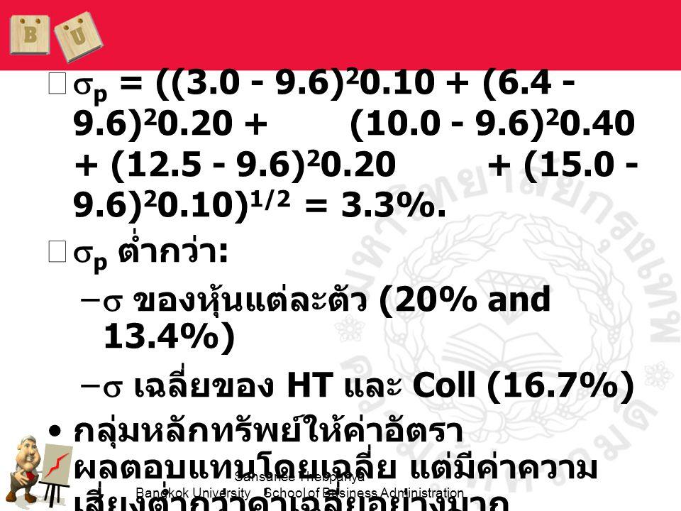Sansanee Thebpanya Bangkok University School of Business Administration  p = ((3.0 - 9.6) 2 0.10 + (6.4 - 9.6) 2 0.20 + (10.0 - 9.6) 2 0.40 + (12.5
