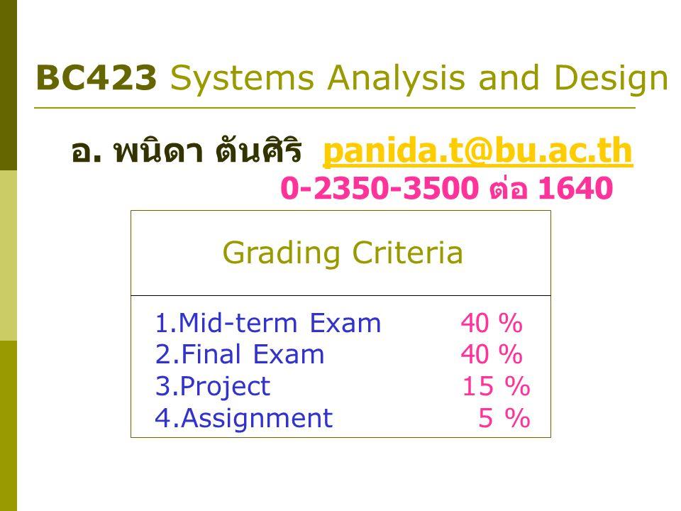 BC423 Systems Analysis and Design อ. พนิดา ตันศิริ panida.t@bu.ac.thpanida.t@bu.ac.th 0-2350-3500 ต่อ 1640 Grading Criteria 1.Mid-term Exam40 % 2.Fina