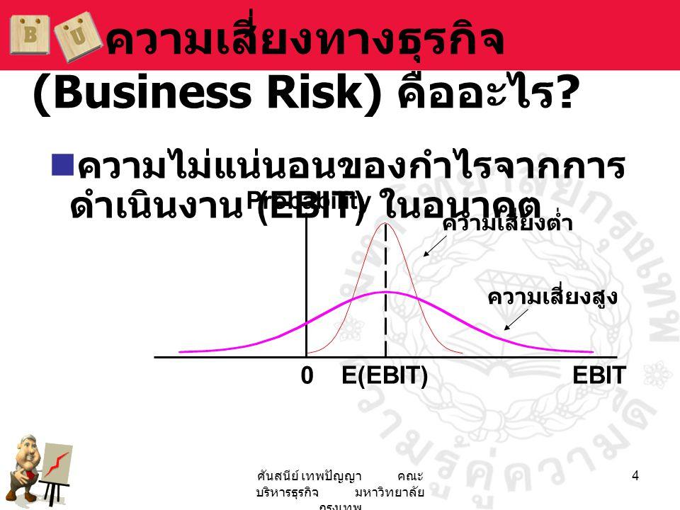 ศันสนีย์ เทพปัญญา คณะ บริหารธุรกิจ มหาวิทยาลัย กรุงเทพ 4 ความเสี่ยงทางธุรกิจ (Business Risk) คืออะไร ?  ความไม่แน่นอนของกำไรจากการ ดำเนินงาน (EBIT) ใ