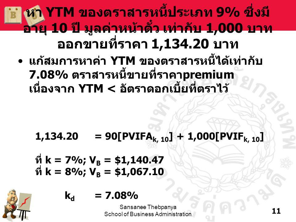 11 Sansanee Thebpanya School of Business Administration หา YTM ของตราสารหนี้ประเภท 9% ซึ่งมี อายุ 10 ปี มูลค่าหน้าตั๋ว เท่ากับ 1,000 บาท ออกขายที่ราคา