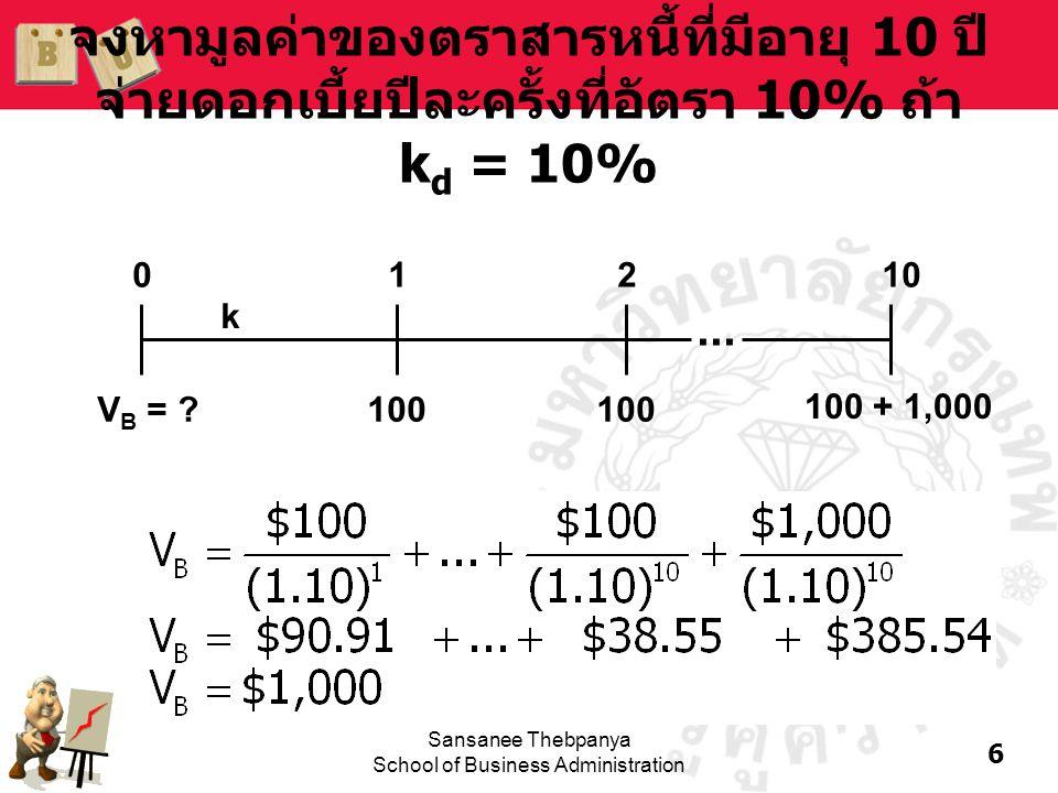 7 Sansanee Thebpanya School of Business Administration ตัวอย่าง: ถ้า k d เพิ่มขึ้น •สมมติว่าเงินเฟ้อสูงขึ้น 4% ทำให้ k d = 14% เมื่อk d สูงกว่าอัตราดอกเบี้ยที่ตราไว้ มูลค่าของ ตราสารหนี้จะต่ำลงกว่ามูลค่าหน้าตั๋ว และขาย ที่ discount V B = ฿100[PVIFA 14%, 10 ] + ฿1,000[PVIF 14%, 10 ] = ฿100[5.2161] + ฿1,000[0.2697] = ฿791.31