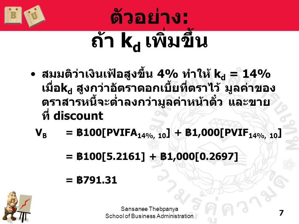 8 Sansanee Thebpanya School of Business Administration ตัวอย่าง: ถ้า k d ลดลง •สมมติว่าเงินเฟ้อลดลง 3% ทำให้ k d = 7% เมื่อ k d ต่ำกว่าอัตราดอกเบี้ยที่ ตราไว้ มูลค่าของตราสารหนี้จะสูงกว่า มูลค่าหน้าตั๋ว และขายที่ premium V B = ฿100[PVIFA 7%, 10 ] + ฿1,000[PVIF 7%, 10 ] = ฿100[7.0236] + ฿1,000[0.5083] = ฿1,210.66