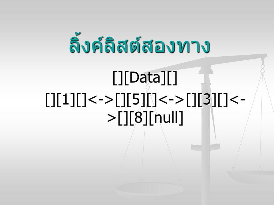 ลิ้งค์ลิสต์สองทาง [][Data][] [][1][] [][5][] [][3][] [][8][null]