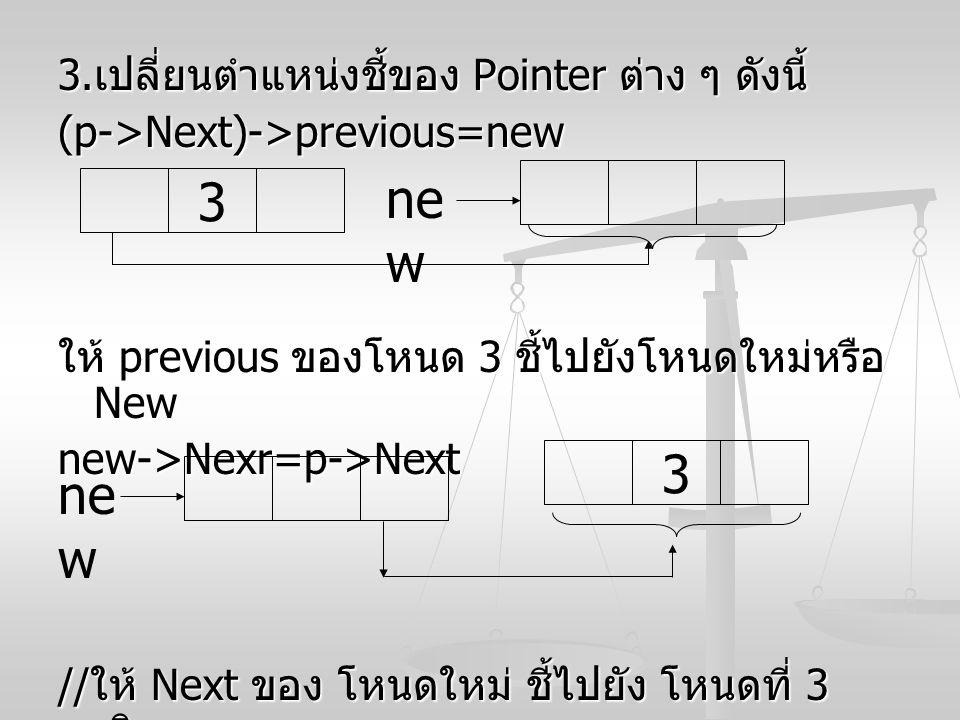 3. เปลี่ยนตำแหน่งชี้ของ Pointer ต่าง ๆ ดังนี้ (p->Next)->previous=new ให้ previous ของโหนด 3 ชี้ไปยังโหนดใหม่หรือ New new->Nexr=p->Next // ให้ Next ขอ