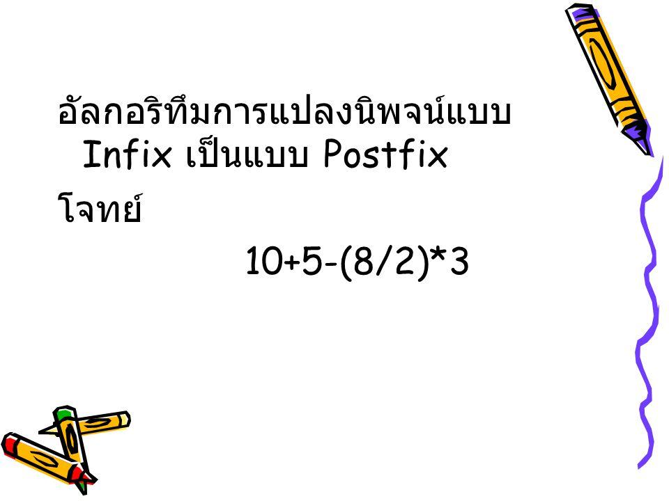 อัลกอริทึมการแปลงนิพจน์แบบ Infix เป็นแบบ Postfix โจทย์ 10+5-(8/2)*3