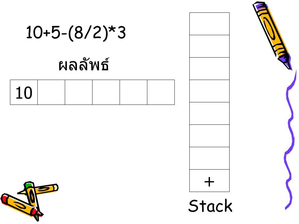 10+5-(8/2)*3 10 ผลลัพธ์ + Stack