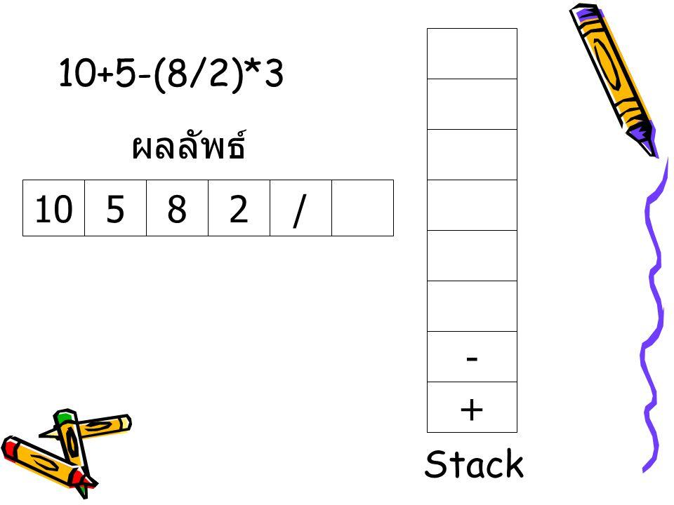 10+5-(8/2)*3 10582/ ผลลัพธ์ + - Stack