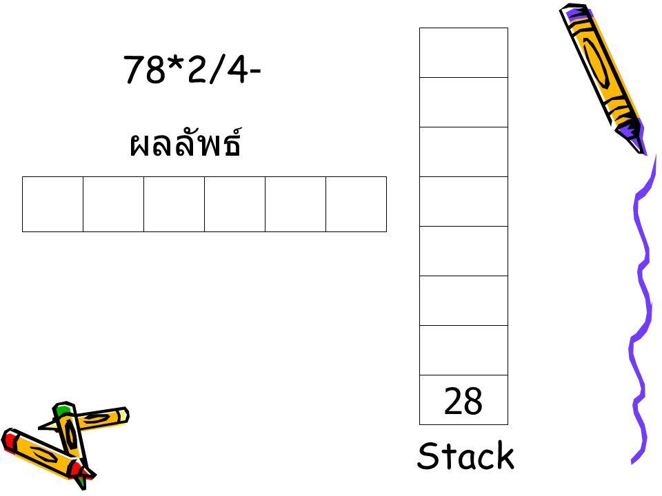 78*2/4- ผลลัพธ์ 28 Stack