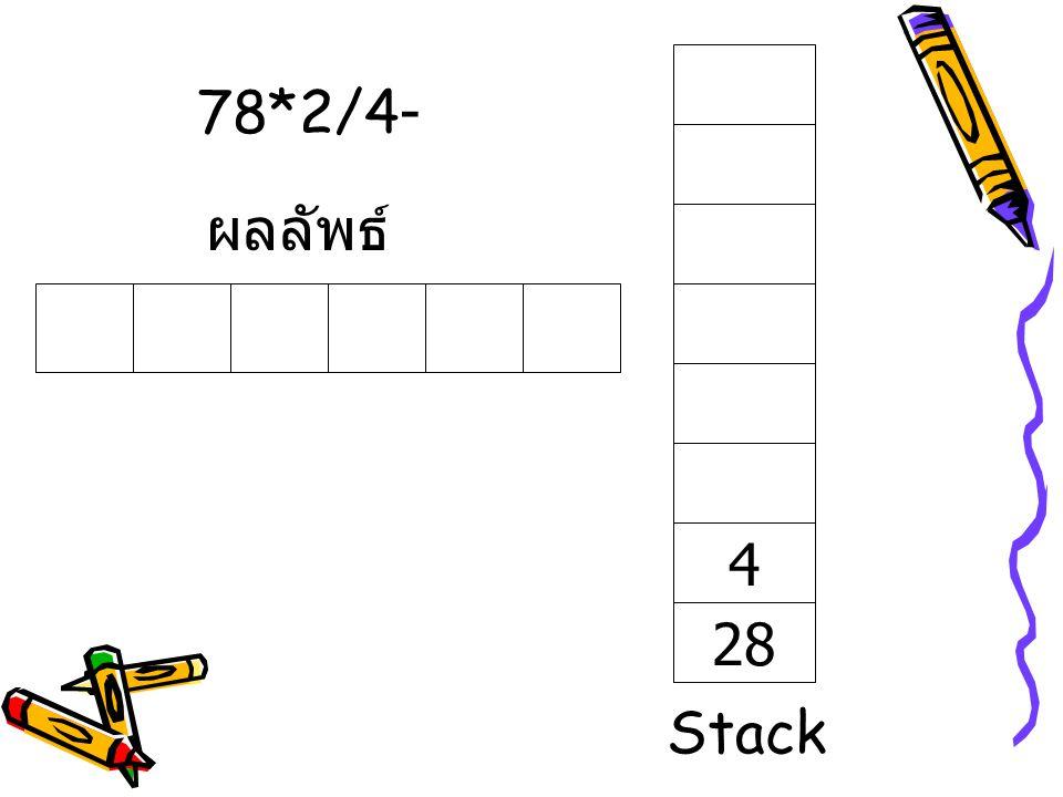 78*2/4- ผลลัพธ์ 28 4 Stack