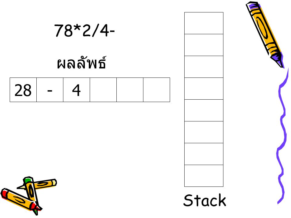 78*2/4- 28-4 ผลลัพธ์ Stack