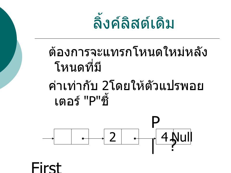 คำสั่ง p next=n; ผลลัพธ์ First n 3.