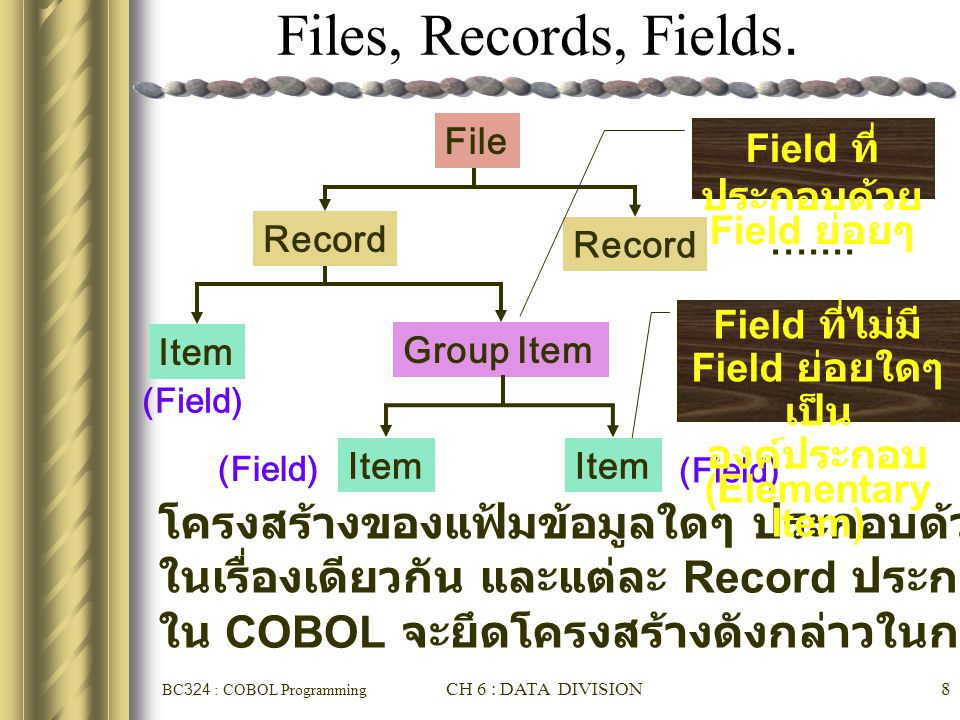 BC324 : COBOL Programming CH 6 : DATA DIVISION8 Files, Records, Fields. Record....... Item Group Item Item (Field) File Record โครงสร้างของแฟ้มข้อมูลใ