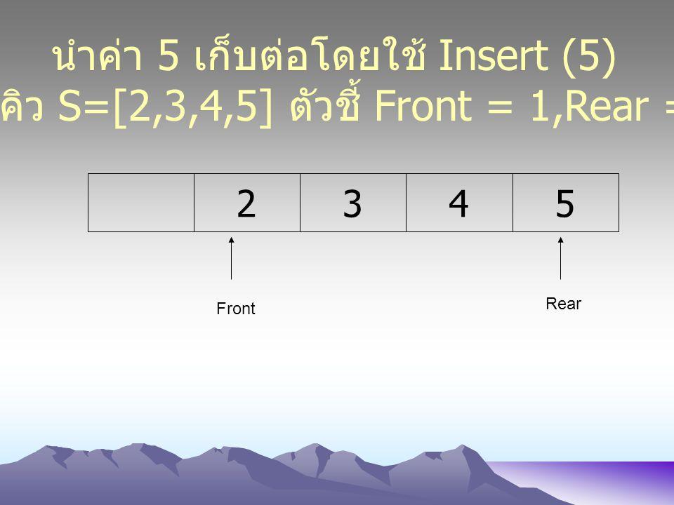 2345 Front Rear นำค่า 5 เก็บต่อโดยใช้ Insert (5) ได้คิว S=[2,3,4,5] ตัวชี้ Front = 1,Rear = 5