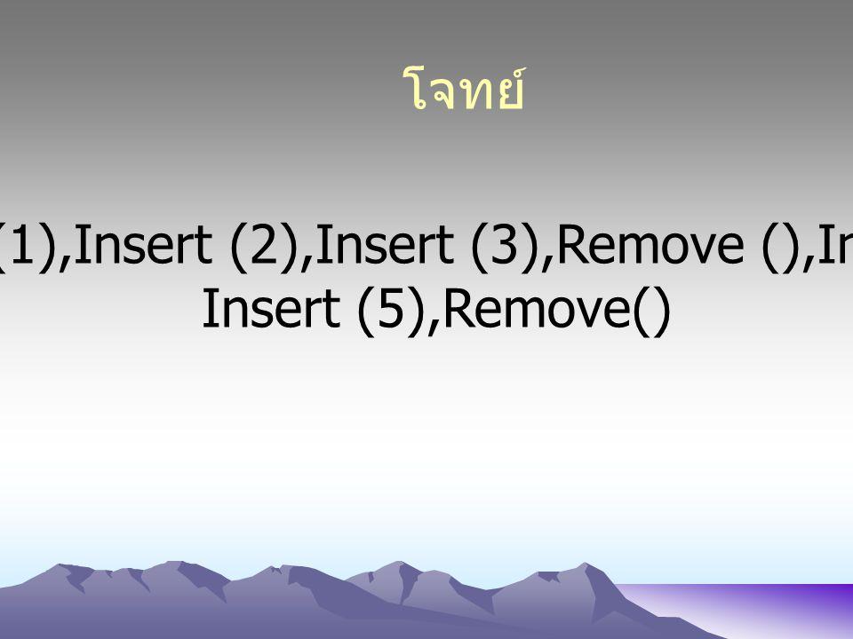โจทย์ Insert (1),Insert (2),Insert (3),Remove (),Insert(4), Insert (5),Remove()