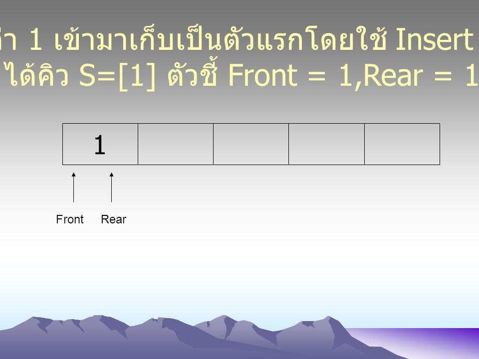 1 FrontRear นำค่า 1 เข้ามาเก็บเป็นตัวแรกโดยใช้ Insert (1) ได้คิว S=[1] ตัวชี้ Front = 1,Rear = 1