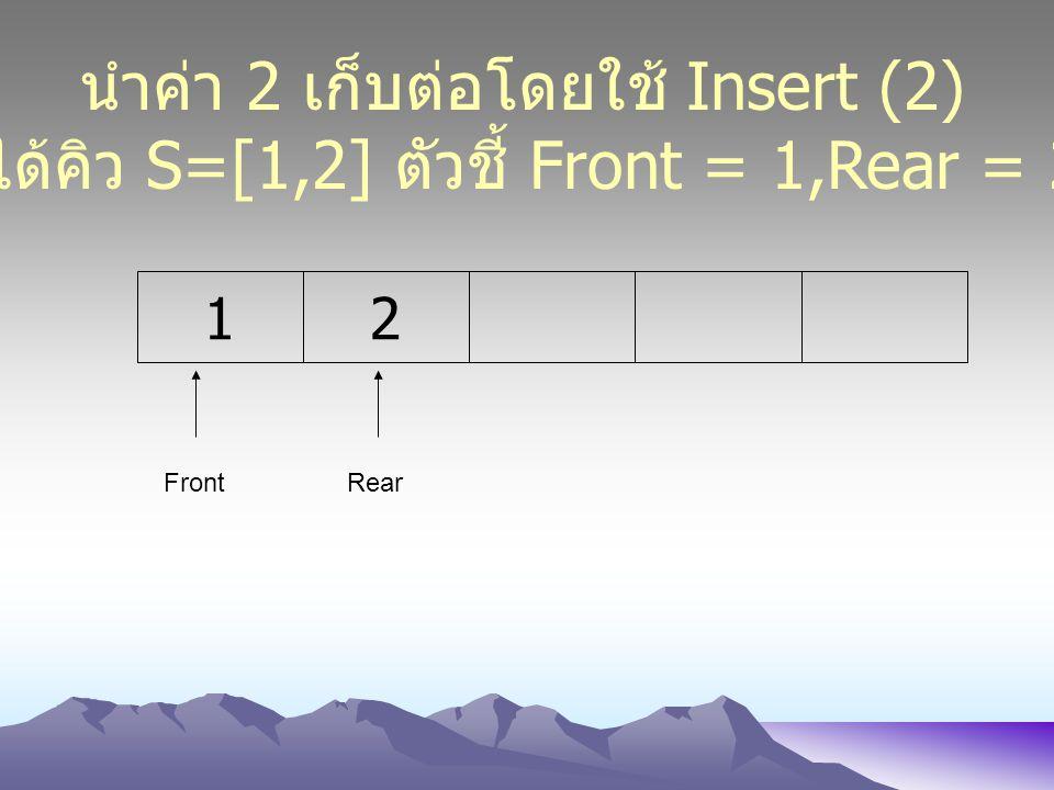 21 FrontRear นำค่า 2 เก็บต่อโดยใช้ Insert (2) ได้คิว S=[1,2] ตัวชี้ Front = 1,Rear = 2