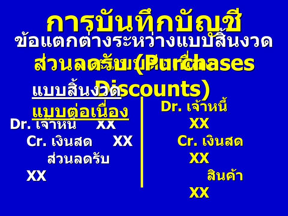 การบันทึกบัญชี ข้อแตกต่างระหว่างแบบสิ้นงวด และแบบต่อเนื่อง ส่วนลดรับ (Purchases Discounts) Dr. เจ้าหนี้ XX Cr. เงินสด XX ส่วนลดรับ XX ส่วนลดรับ XX แบบ